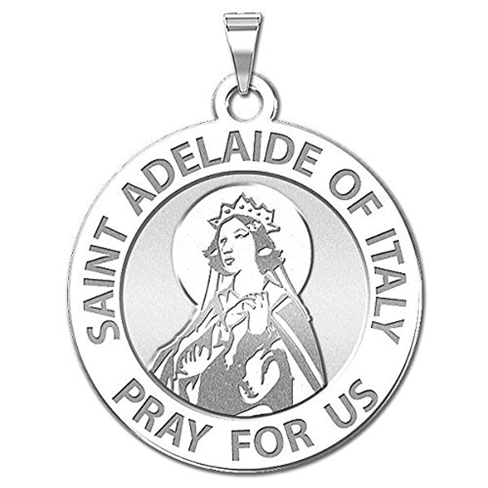 Sterling Silver 2//3 Inch Size of Dime PicturesOnGold.com Saint Adelaide of Italy Religious Medal