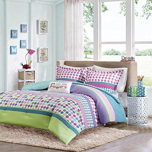 Girls Teen Kids Modern Comforter Bedding Set Pink Purple Aqua Blue Polka Dots Stripes Geometric Design with Owl Pillow. Includes Bonus Sleep Mask From Designer Home (Twin/twin Xl) (Dot Bedding Pink)