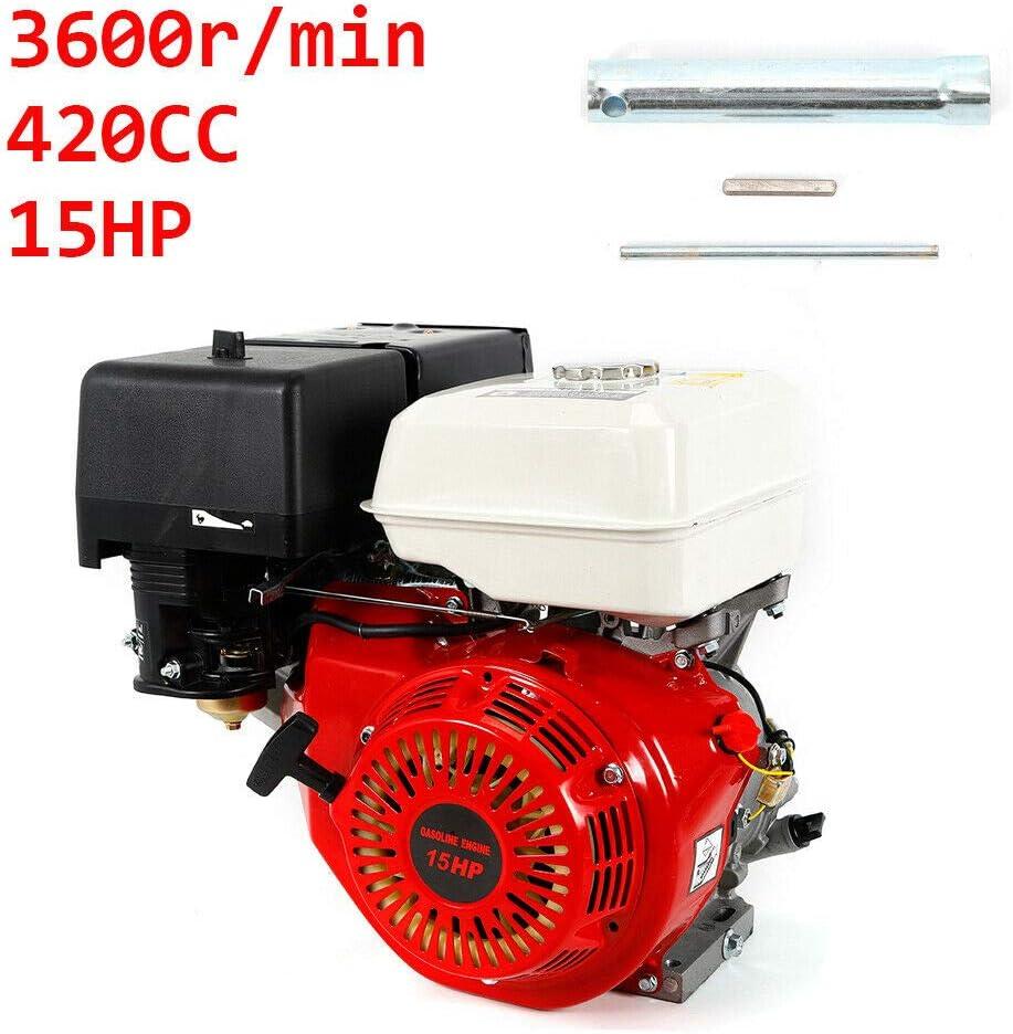 DONNGYZ 4-Stroke 15HP OHV Single Cylinder Gasoline Engine Go Kart Gas Engine Electric Start Gas Power Gasoline Motor 420CC with Oil Alarm US Stock