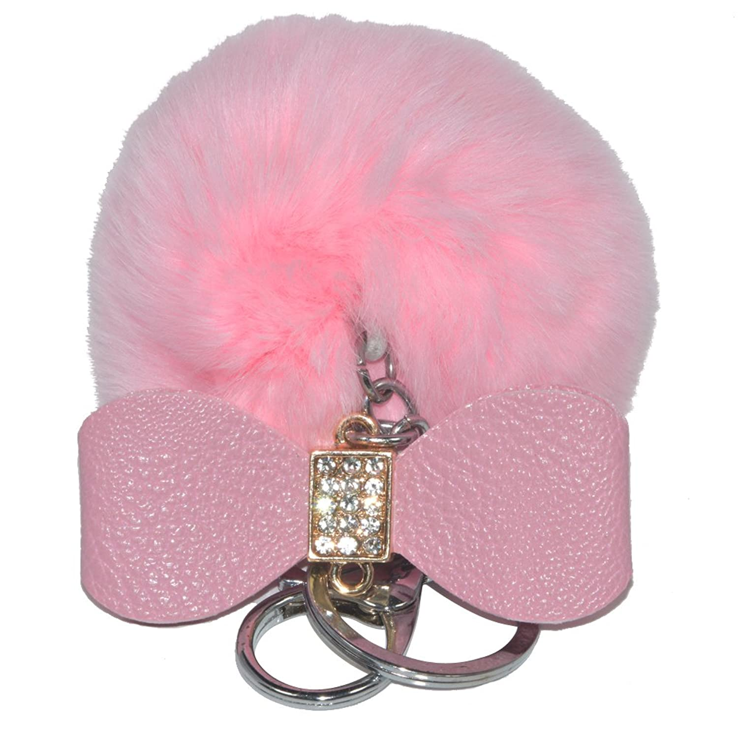 DongStar, Key chain with Cute Artificial Rabbit Fully Fur Pom Pom Baby Pink Ball or Bag Purse Charm