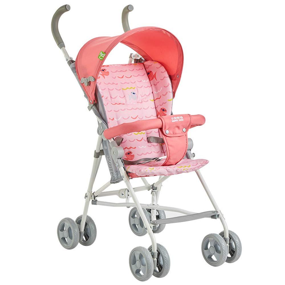 ミニ子供用トロリー、軽量折りたたみ式ベビーカー、通気性/防蚊/挟み込み防止/持ち運びが簡単 - 安定したベビー用バギー,Pink  Pink B07PPH6CZB