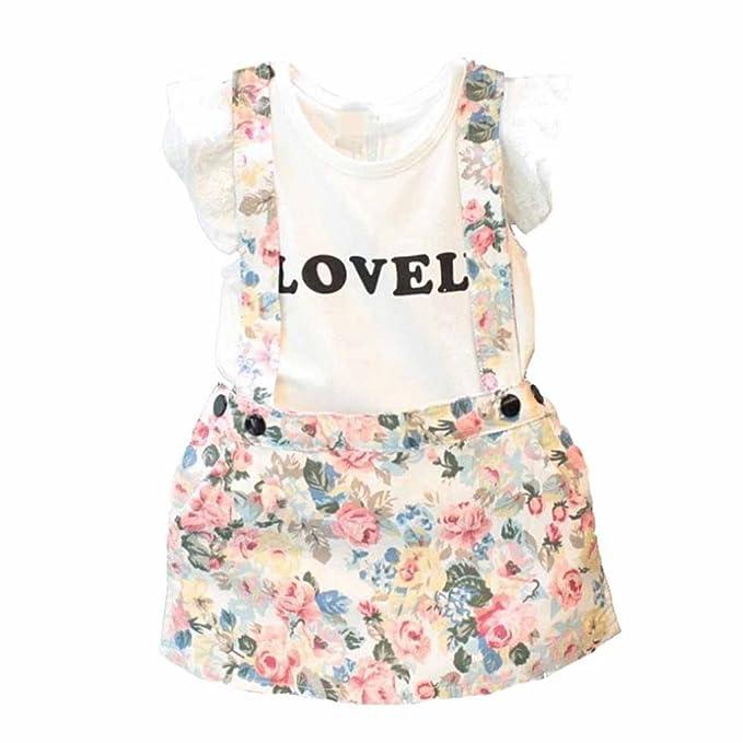 f624df6d9f55b OverDose bebé niña la ropa bonita de la correa de los guardapolvos fijó la  camiseta +