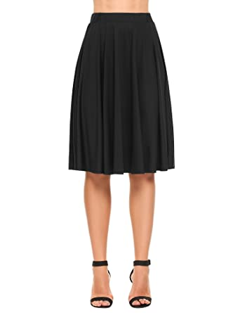Zeagoo Jupe Noir Femme Taille Haute Élastique Mi Longue Jupe Plisse Doux  Elegante 1c589c10d684