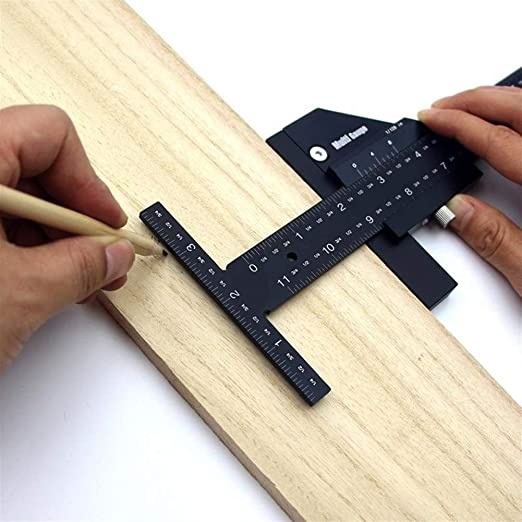 Woodworking Scriber T-type Ruler All in One Aluminum Steel Framing Tool for Professional Carpentry Use Dual Function Woodworking Scriber Gauge for Measuring and Marking