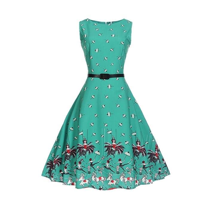 Vintage Kleid 50er Jahre BakeLIN Damen Grün Elegant Mode Drucken ...