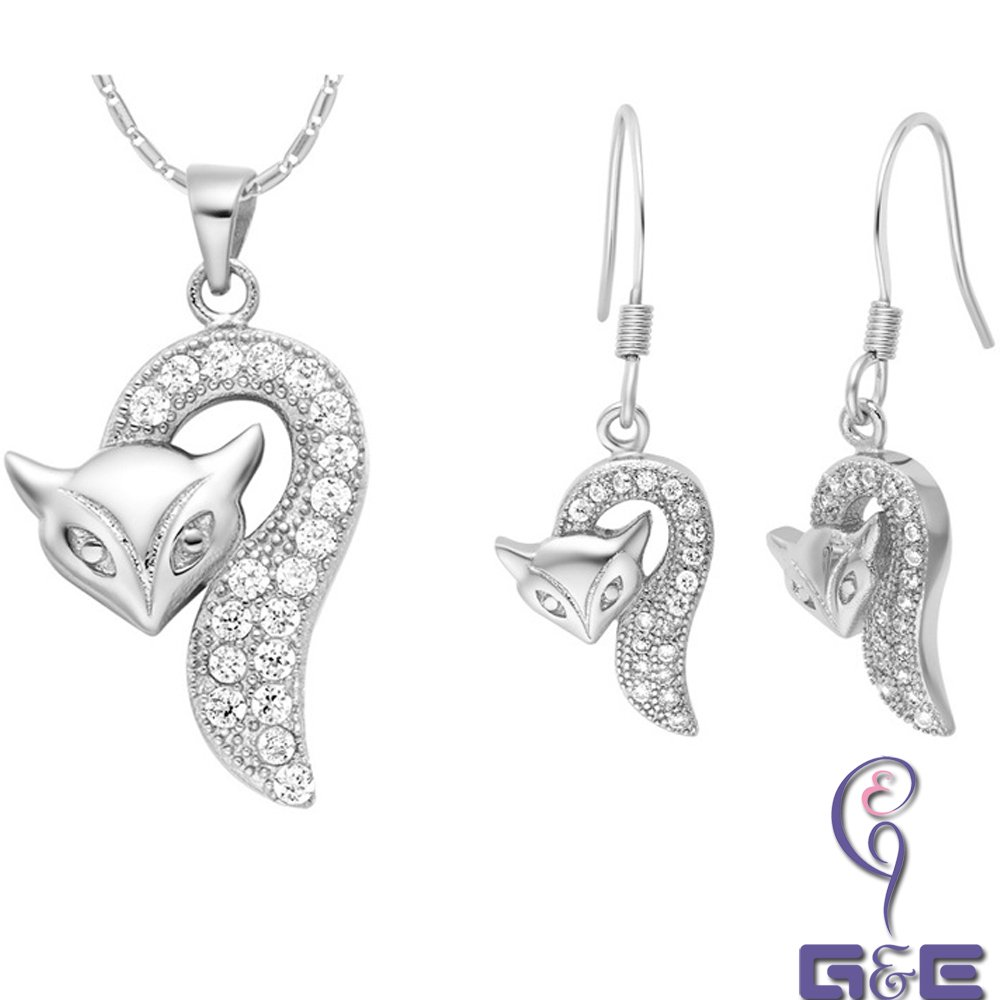 Alloy with Rhinestones Earrings and Necklace Set (Fox 2) (Silver)