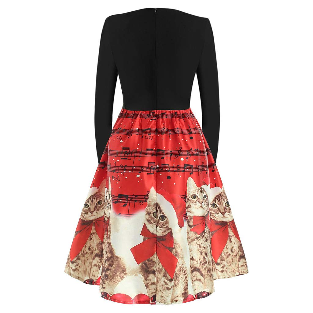 Auifor Christmas Dresses Women Casual Chic Long Sleeve O-Neck Lovely Christmas Cats Print Evening Party Flare Dress Daily Beach Xmas Dress