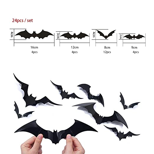 Halloween 3d murciélagos pared Tatuajes etiqueta ventana Decor ...
