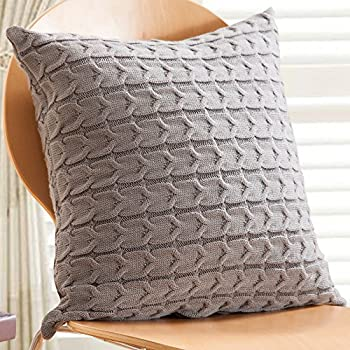 sanifer doubleside cable knit decorative throw pillow cover for bed couch cover only