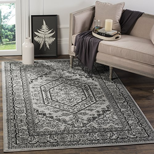 Collection ADR108A Silver and Black Oriental Vintage Medallion Area Rug (5'1