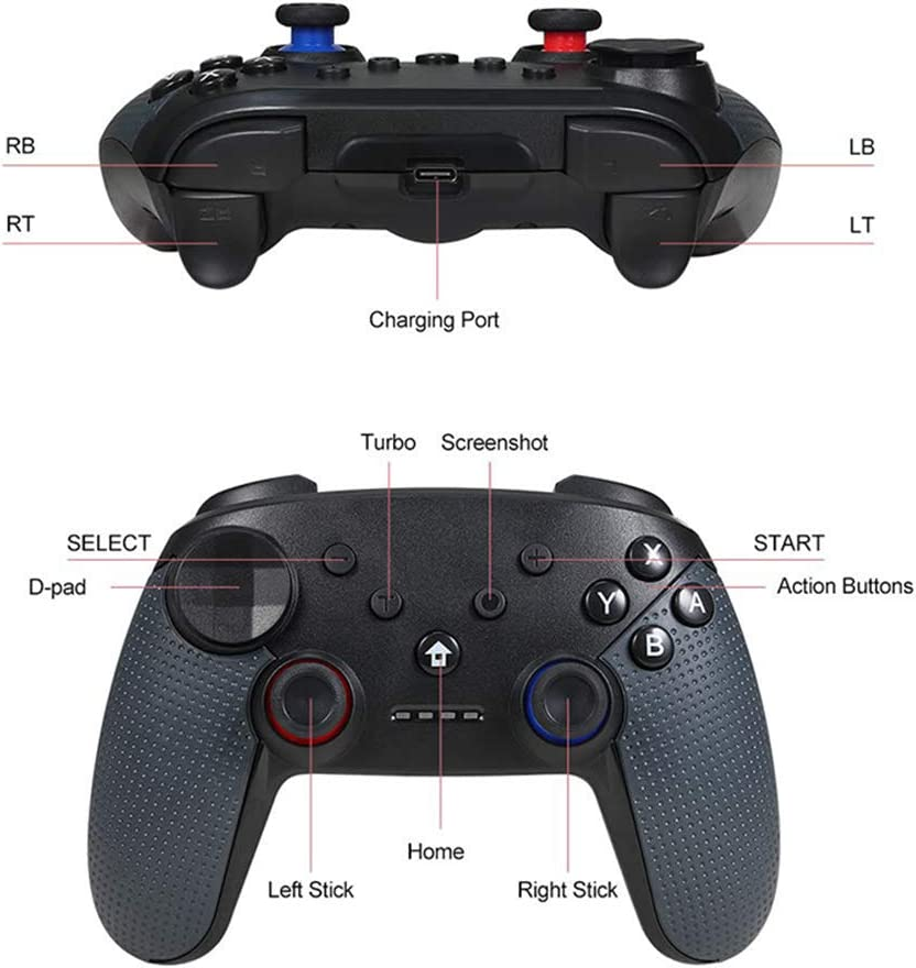 ZHANGZ0 Gaming Joystick Wireless Game Controller for PS3 Bluetooth Gamepad Switch with Six-Axis Gyroscope for Android PC,D
