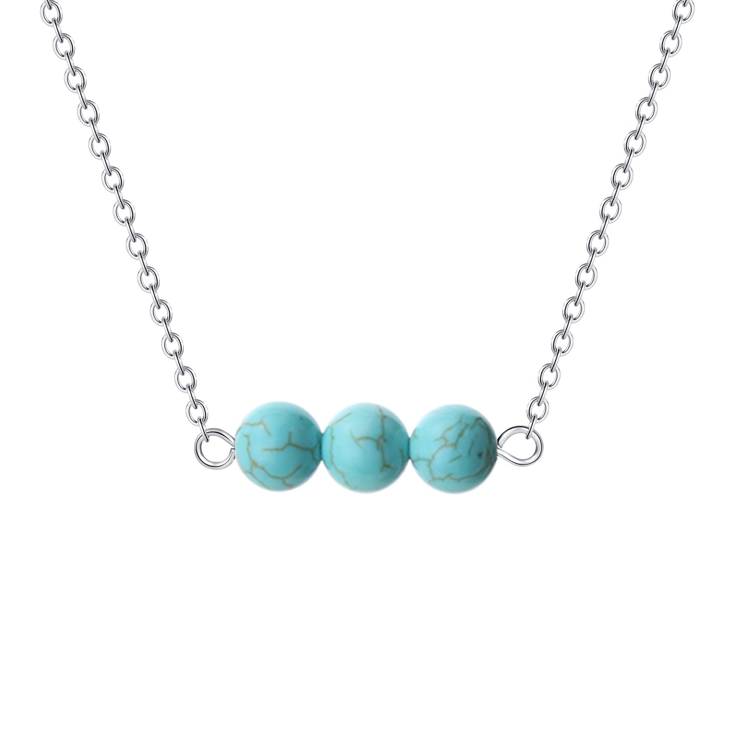 Wunionup Turquoise Bead Choker Jewelry Necklace - Handmade Minimalist Natural Dainty Tiny Simple Cute Genuine Small Round Healing Turquoise Dainty Bar Stone Gemstone Necklace Silver 16 inch Women