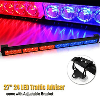 "27"" 24 LED 13 Flashing Strobing Modes High Intensity Law Enforcement Traffic Advisor Emergency Warning Hazard Strobe Light Bar Kits for Truck Undercover Vehicle w/Adjustable Large Suction Cup Bracket: Automotive"
