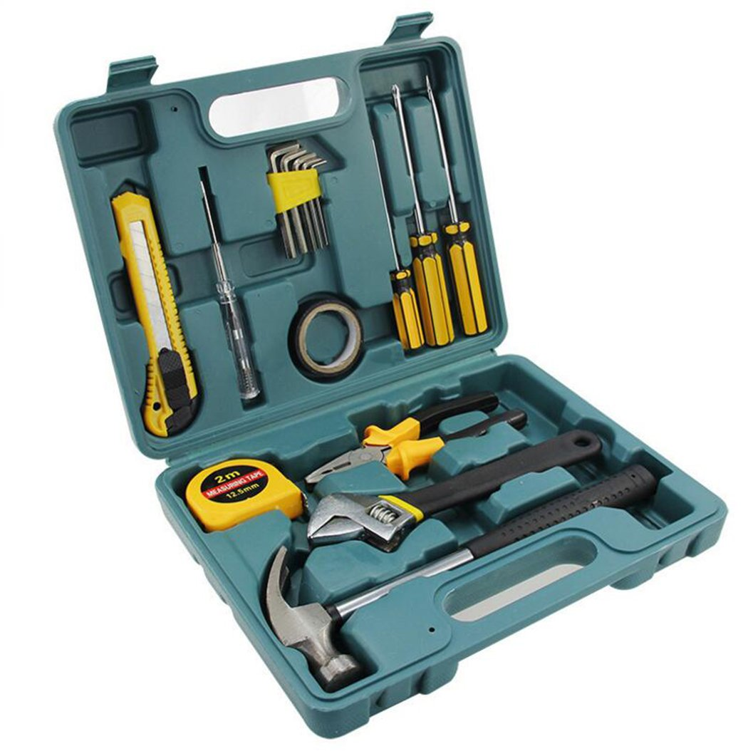 16 Piece Home Repair Tool Kit, General Household Tool Kit for Home Maintenance with Plastic Toolbox Storage Case