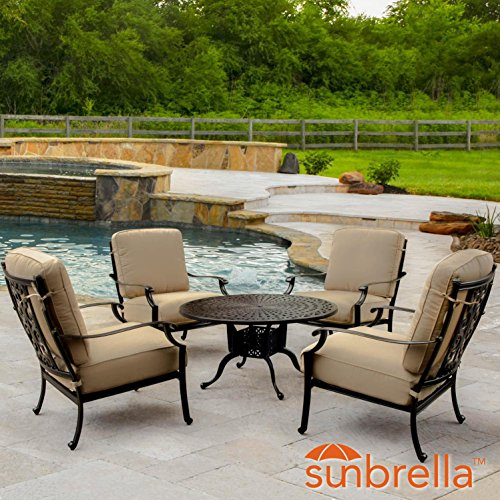 Lakeview Outdoor Designs Bocage 5 Piece Cast Aluminum Patio Conversation Set W/Round Coffee Table, Club Chairs & Sunbrella Heather Beige Cushions By Aluminum 5 Piece Club Chair