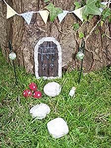 Jardín de hadas hecho a mano cerrada para Marica, estrabismo, Pixie, elfo con piedra reinona puerta, peldaños y varios accesorios