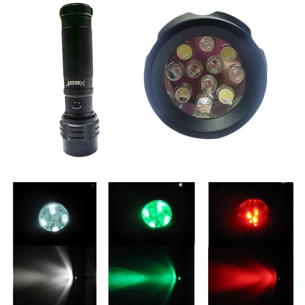 Hjuns Portable Outdoor Mini Pocket LED Flashlight Penlight Torch Light with Red&Green&White Light