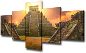 Room Wall Pictures Mayan Pyramid of Kukulcan El Castillo Wall Art Sunset Paintings for Living Room 5 Piece Printed on Canvas Artwork Giclee House Decor Framed Stretched Ready to Hang(50'W x 24''H)