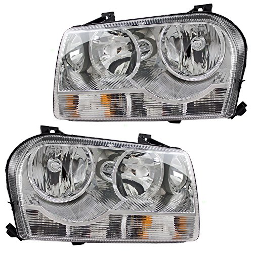 Chrysler Assembly Headlight 300 - Driver and Passenger Halogen Headlights Headlamps Replacement for Chrysler 4805757AI 4805756AI