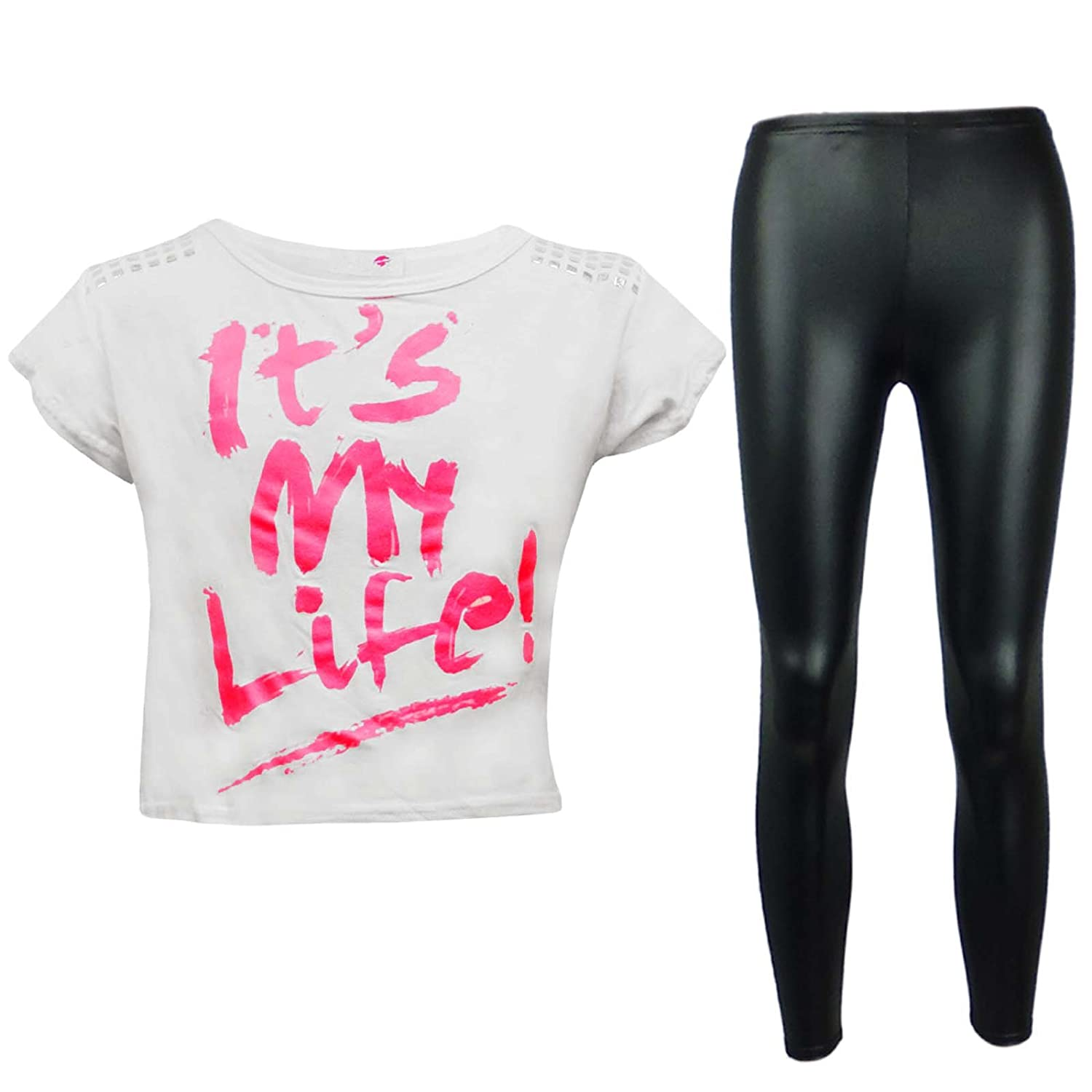 A2Z 4 Kids® New Kids Girls It's My Life ! Crop Top & Black Wet Look Legging Set New Age 7 8 9 10 11 12 13 Years