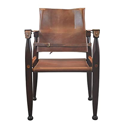 Colonial Safari Chair   Vintage Reproduction   Features Luxury Leather Seat  Backrest And Straps   Brass