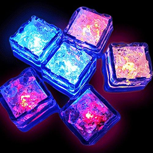 Multicolor Ice Cubes Light, 12-Pack Creative LED Lighting Flashing Liquid Sensor Cube Shape LED Decorative LED Ice Cubes Shape Lights Glow Light Up for Wedding, Club, Bar, Champagne Tower(12 Pack)