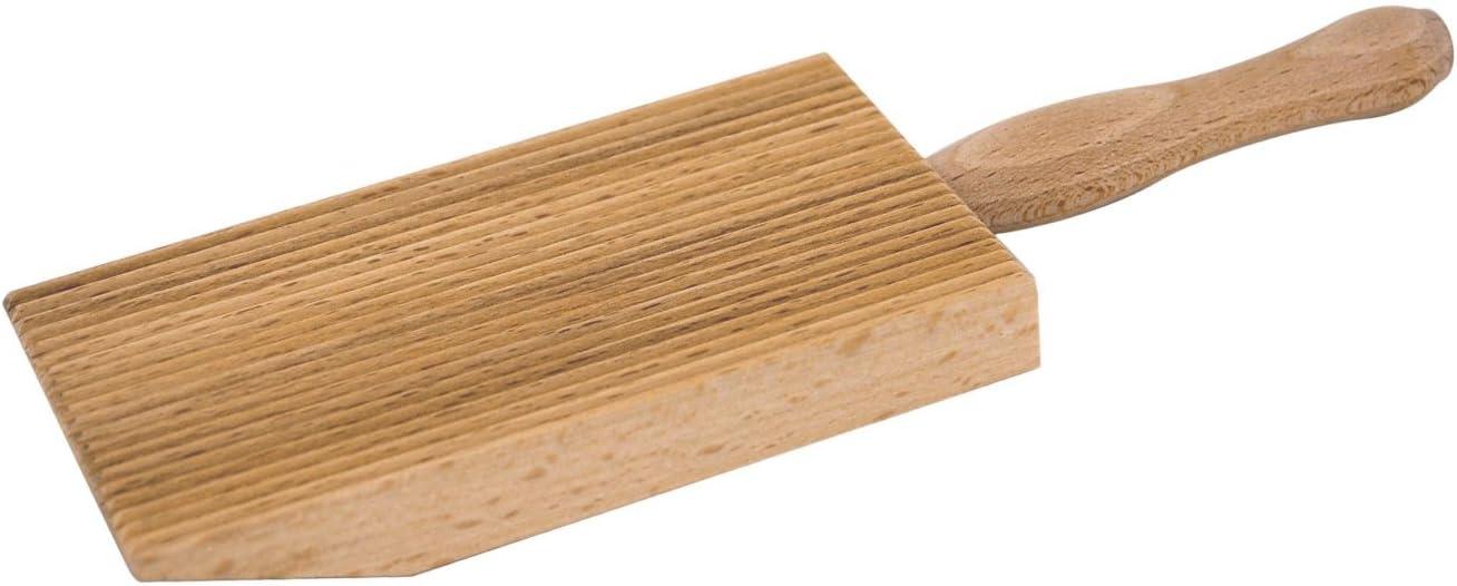 Tredoni Planche /à p/âtes professionnelle pour gnocchi//garganelli en bois avec b/âton 9 x 12,5 cm