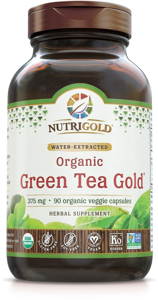 NutriGold Green Tea Gold - Metabolism, Weight-Loss, and Immune Support - 375 mg (90 organic veggie capsules)