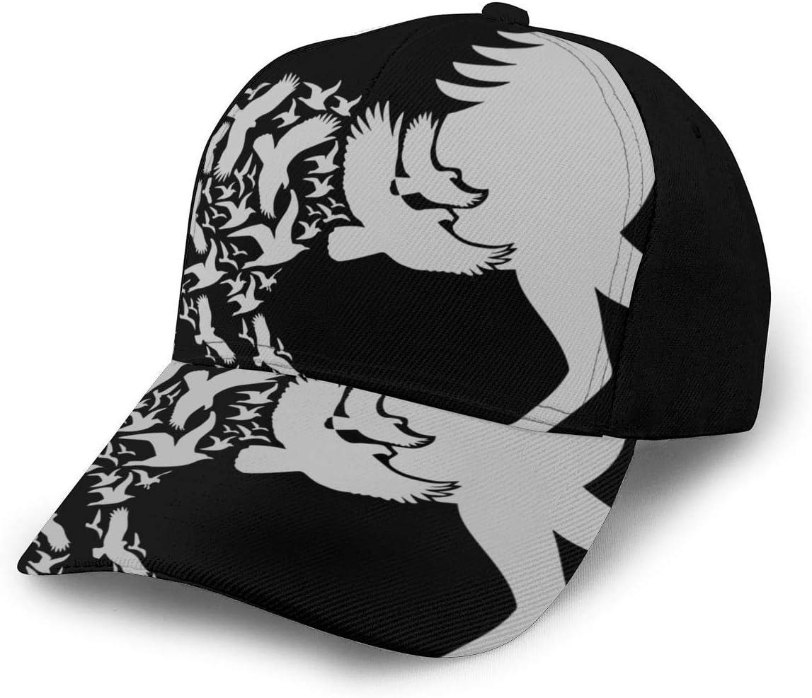 Bikofhd - Silueta de caballo negro con pájaros voladores, estilo vintage, cierre hígado, para hombres finos, gorra ajustable, sombreros de vaquero