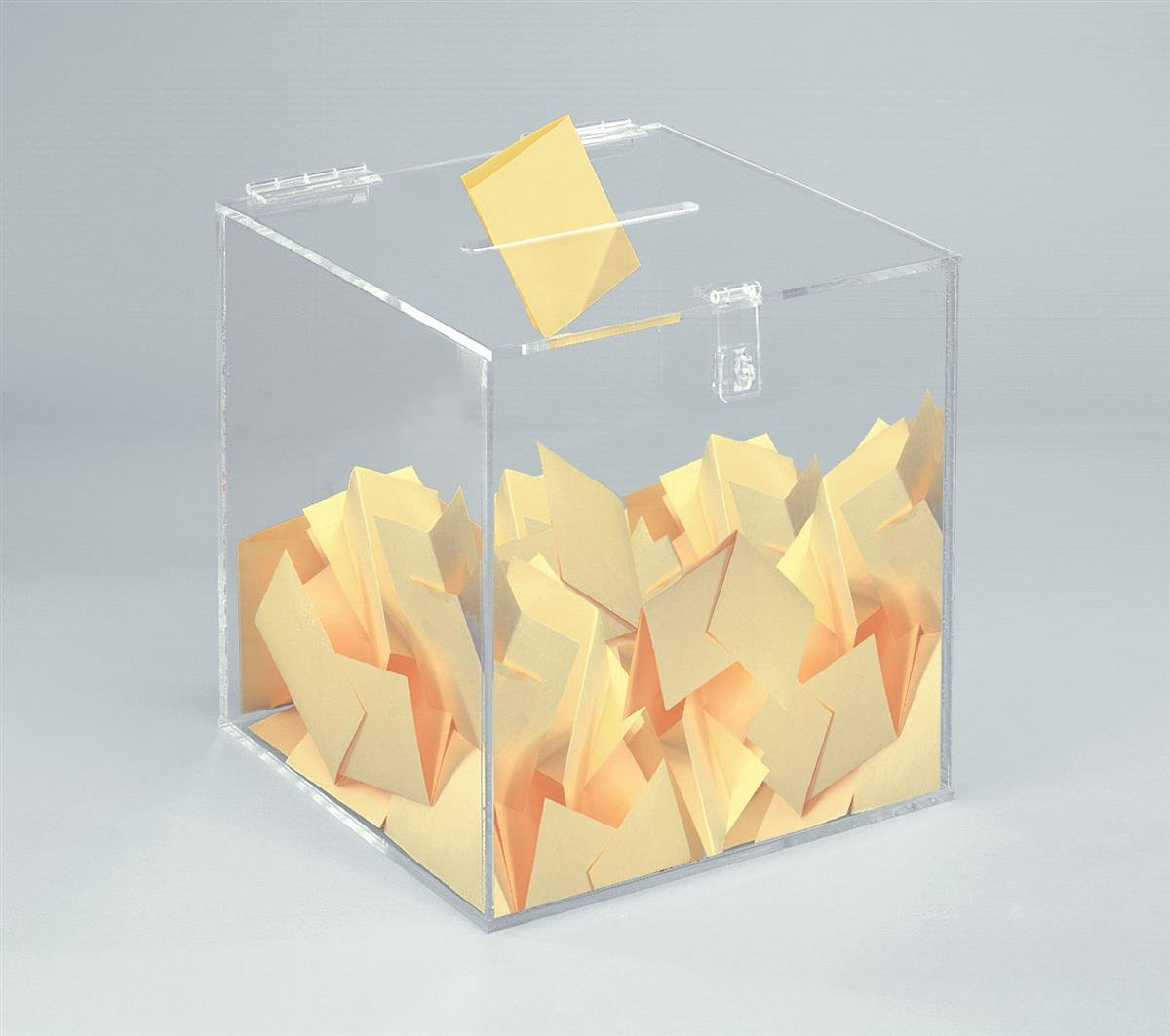 12-inch Clear Acrylic Ballot Box Cube with Hinged Lid, for Countertop Use by Displays2go