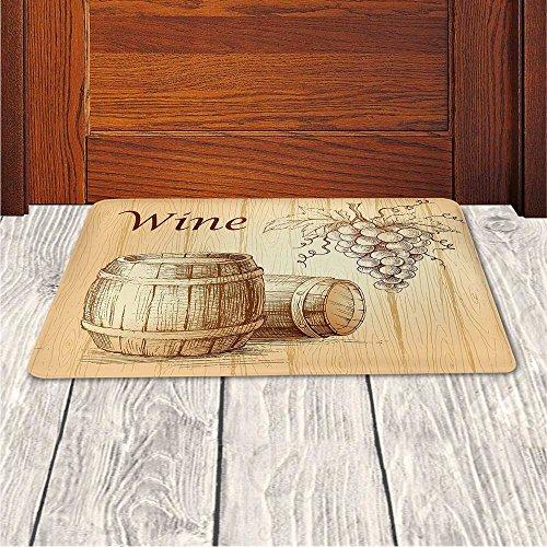 Memory Foam Bath Mat,Wine,Wooden Barrels and Bunch of Grapes on Wood Backdrop Botany Harvest Theme Artwork DecorativePlush Wanderlust Bathroom Decor Mat Rug Carpet with Anti-Slip Backing,Brown Peach by iPrint (Image #3)