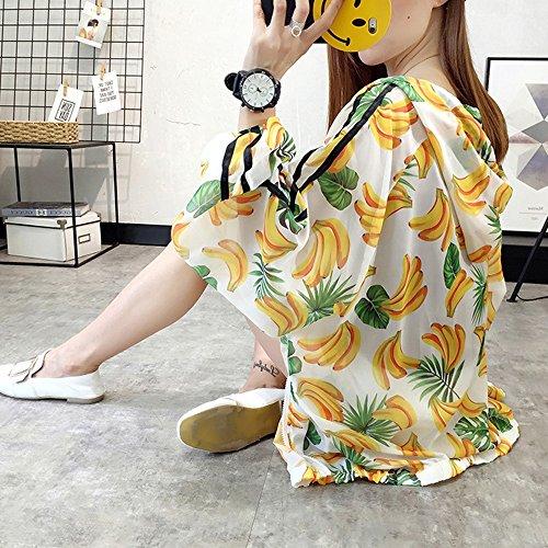 QFFL fangshaifu 夏の女性の印刷日保護服/フード付きルース薄いコート/観光簡単なショールに行く/学生アンチUV日焼け止めシャツ (色 : B, サイズ さいず : L l)