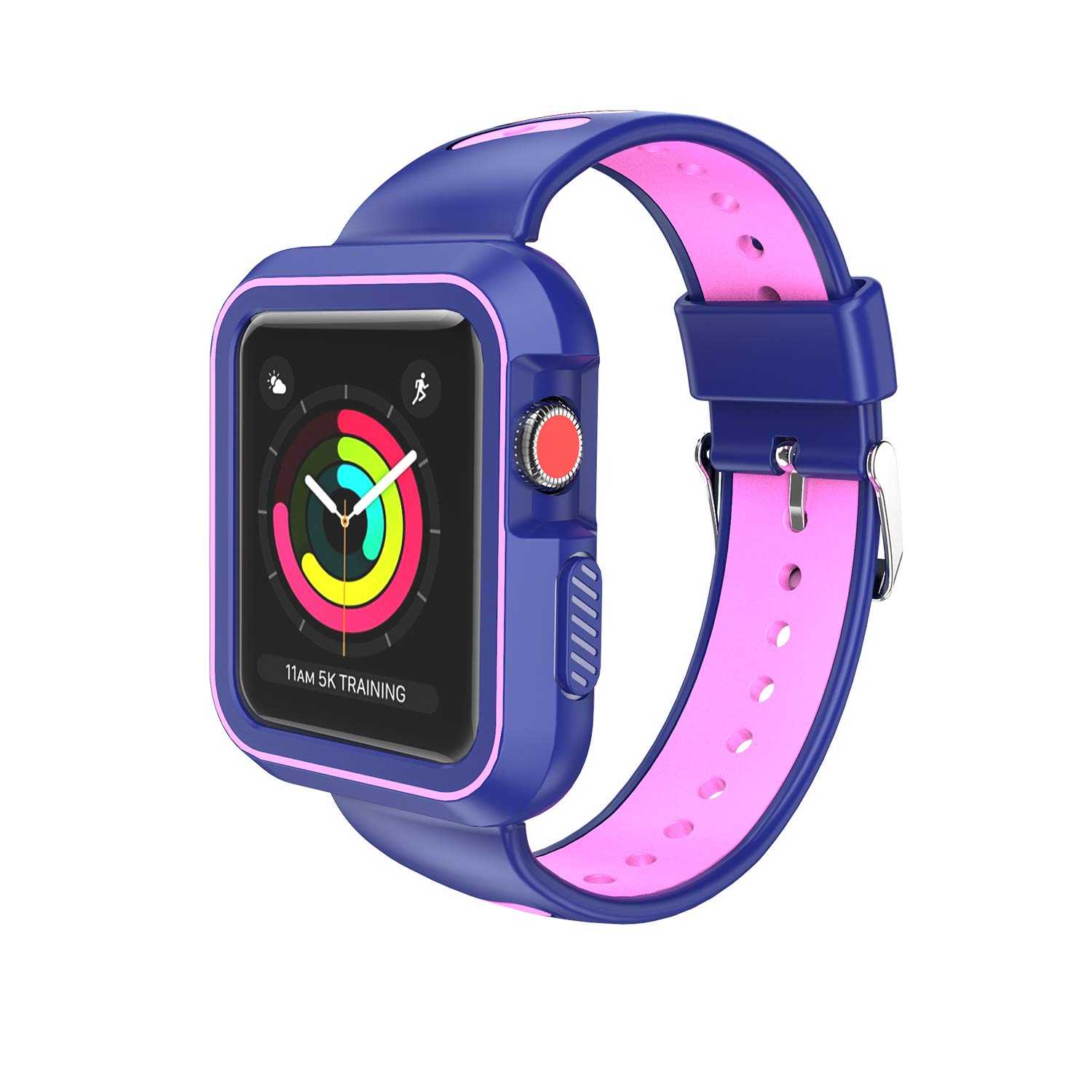 VanGoddy Protective Silicone & EVA Blue Pink Shockproof Hybrid Band Case for Apple Watch 38mm Series 3, Series 2, Series 1