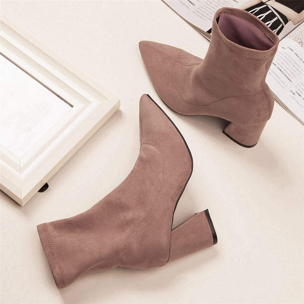 GSAYDNEE Halbstiefel für Damen mit mit mit hohem Absatz und Spitzen Stiefelies (Farbe   Rosa Größe   36) e4ac89