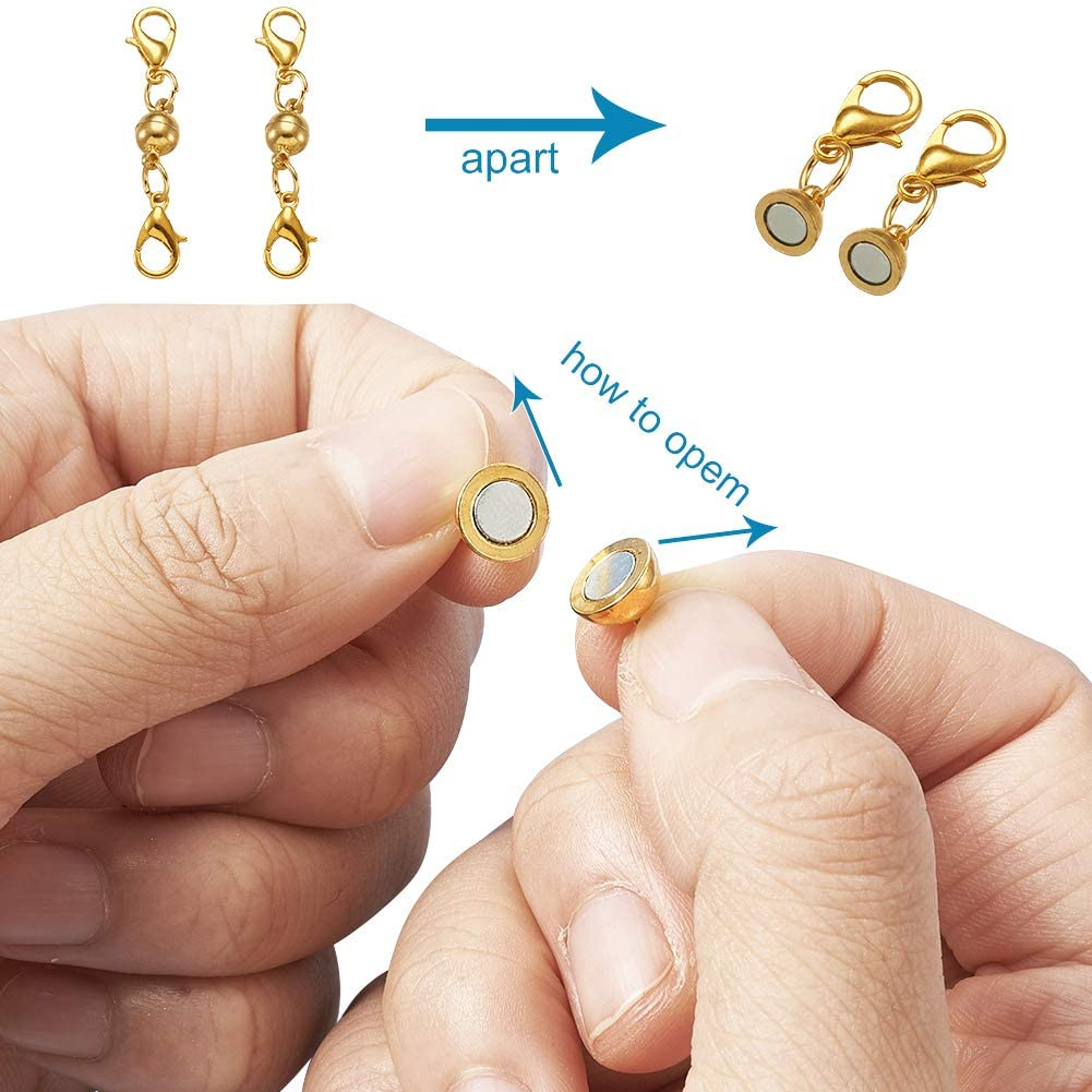 Kissitty 250pcs//box 3 Size Golden Slide On End Clasp Tubes Kit with Earring Hooks Jump Rings Extender Chains and Lobster Clasps for Jewelry Making