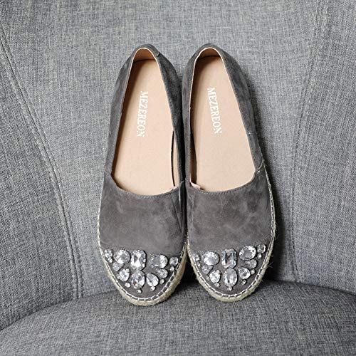 On Women's Flats Platform Shoes Leather Genuine Espadrilles Slip T Rhinestones Grey Loafers JULY F4qOxT