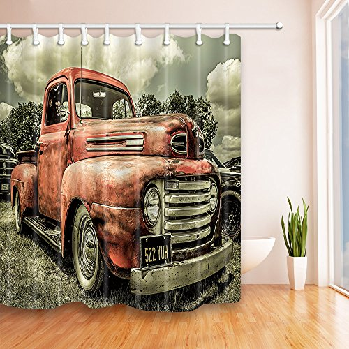 NYMB Custom The Old Truck Car 69X70 inches Mildew Resistant Polyester Fabric Shower Curtain Set Fantastic Decorations Bath (Custom Cars And Trucks)