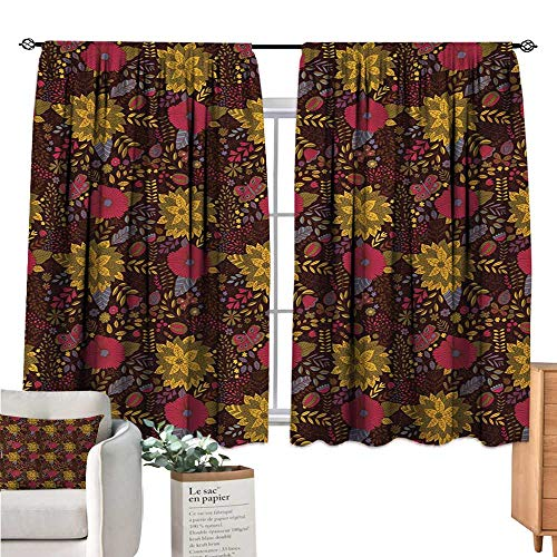 Warm Family Garden Art Country Curtain Botany Inspired Illustration with Flourishing Nature Butterflies and Ladybugs Multicolor Doorway Curtain W55 x L39