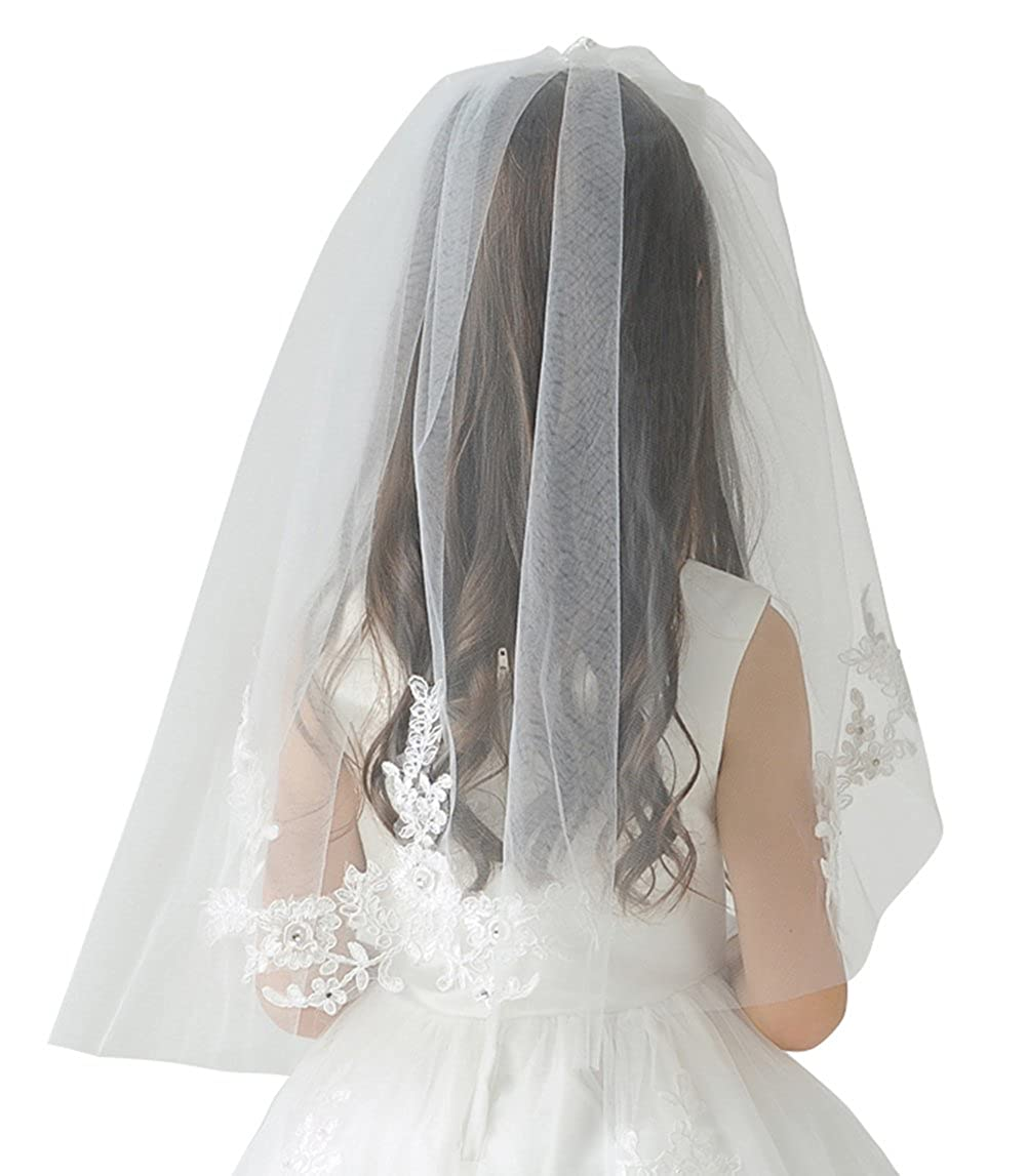 Ethel Girl's Tulle Applique First Communion Veil with Bow