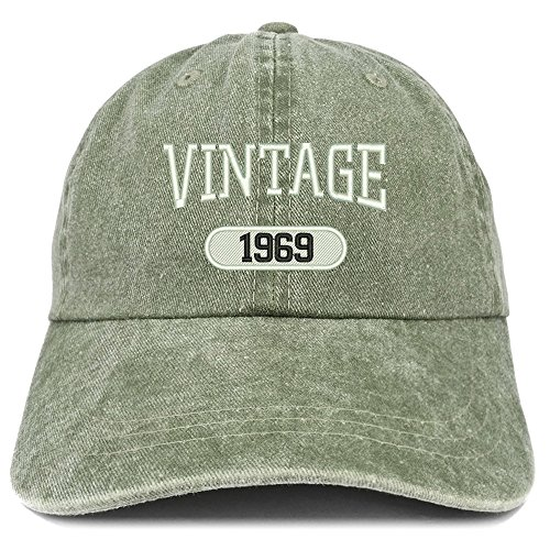 Trendy Apparel Shop Vintage 1969 Embroidered 50th Birthday Soft Crown Washed Cotton Cap - Olive]()