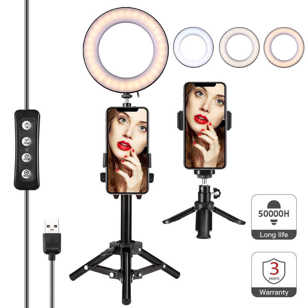 Selfie LED Ring Light 6.5'' with Tripod Stand & Phone Holder, for Live Stream/Makeup Video or YouTube, Desktop Mini Ring Light for iPhone Android Phone with Eleven Brightening