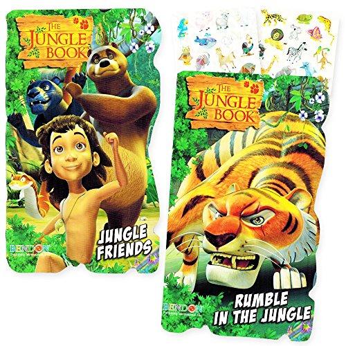 Jungle Book Board Books Set Kids Toddlers -- 2 Books with Bonus Jungle Animals Stickers