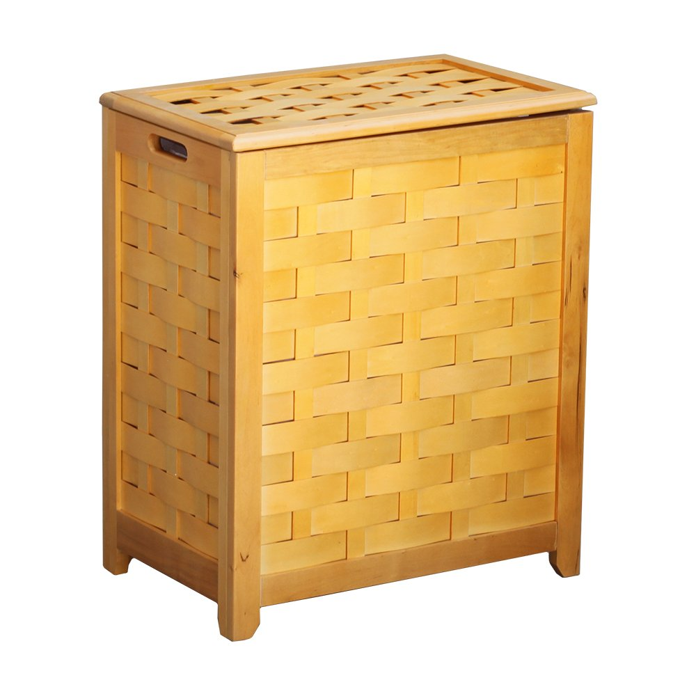 Oceanstar RHV0103N Rectangular Veneer Laundry Wood Hamper with, Natural Finished by Oceanstar B00195ZL1S  ナチュラル