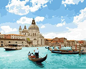 Paint by Numbers for Adults Kids Oil Paint by Number Kits Canvas Painting Numbers with Brushes and Acrylic Pigment Venice, 16x20