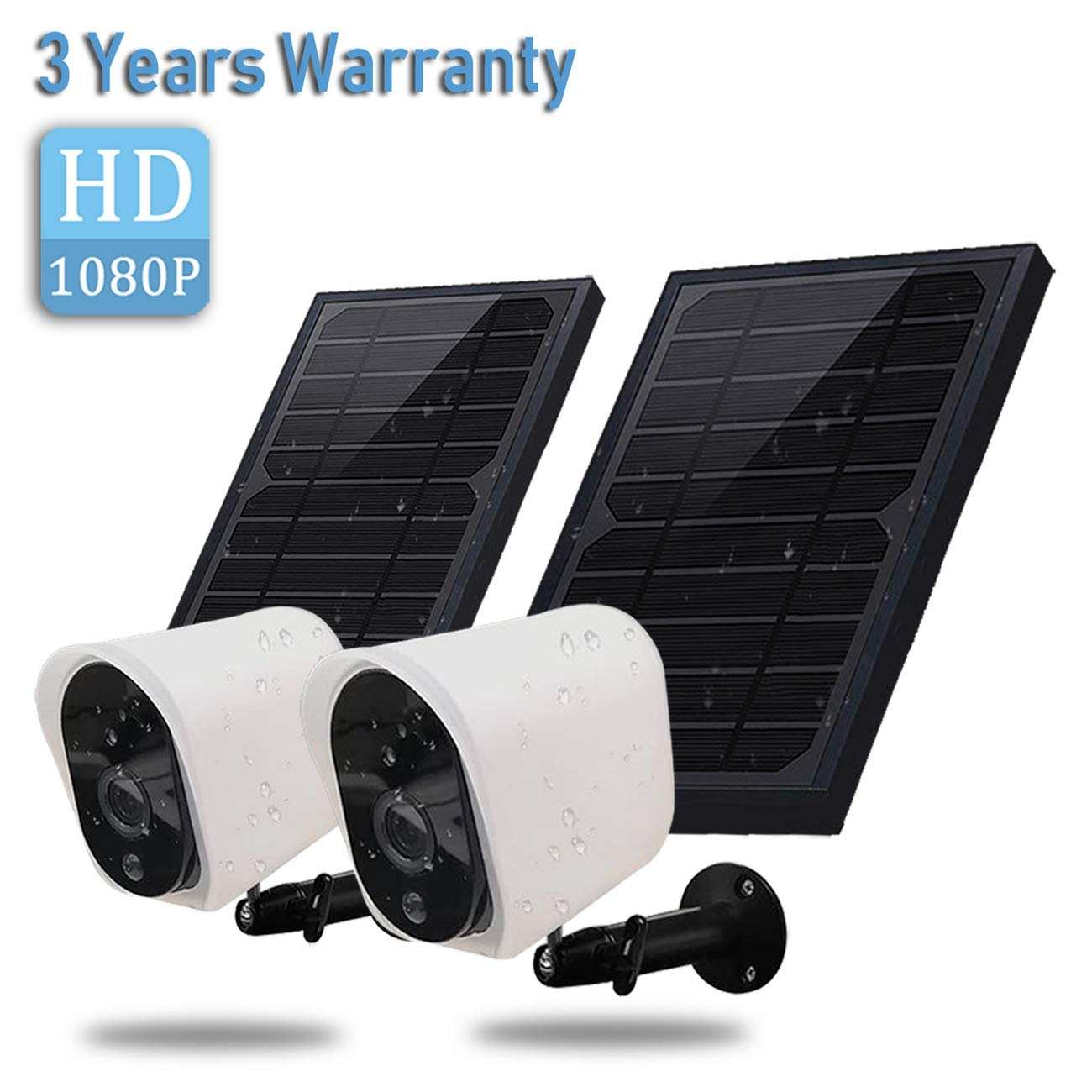 Wireless Rechargeable Battery Powered Security Camera with Solar Panel, 1080p HD Waterproof Outdoor Home Surveillance with Motion Detection, Two Way Audio, Night Vision-Work with Alexa(2 Pack) by RaceTek
