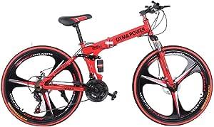 26 in Folding Mountain Bike Shimanos 21 Speed High Carbon Steel Bicycle Mountain Trail Bikes Full Suspension MTB Bikes for Men/Women