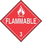 "Accuform Signs MPL301VP1 Plastic Hazard Class 3 DOT Placard, Legend FLAMMABLE 3"" with Graphic, 10-3/4"" Width x 10-3/4"" Length, White on Red"