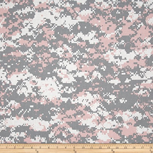 Santee Print Works Urban Camouflage Pink/Grey Fabric by The Yard, Pink/Grey