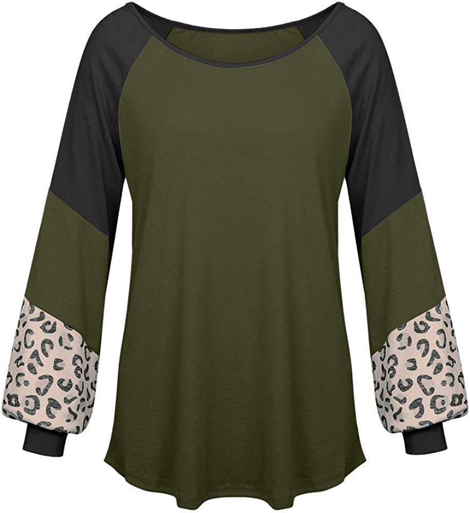 Muranba Womens Tops Long Sleeve Round Neck Leopard Sweatshirts Pullover Top Blouse