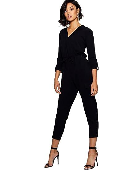 top design how to buy popular brand Femmes Noir Hilda combinaison cache-cœur militaire style ...